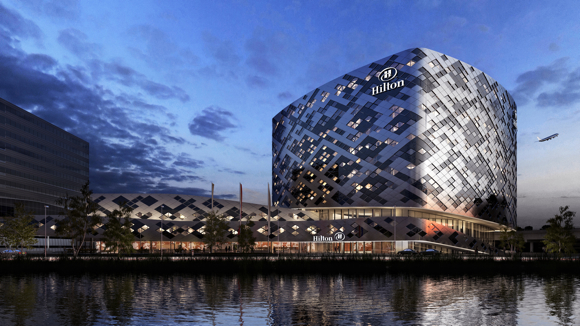 An artistic rendering of the exterior of the new Hilton planned for Schiphol airport