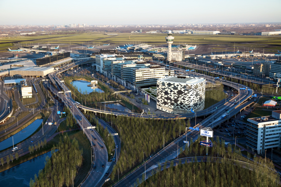 An artistic rendering of the where the new Hilton planned for Schiphol airport will be located