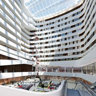 An artistic rendering of the lobby of the new Hilton planned for Schiphol airport